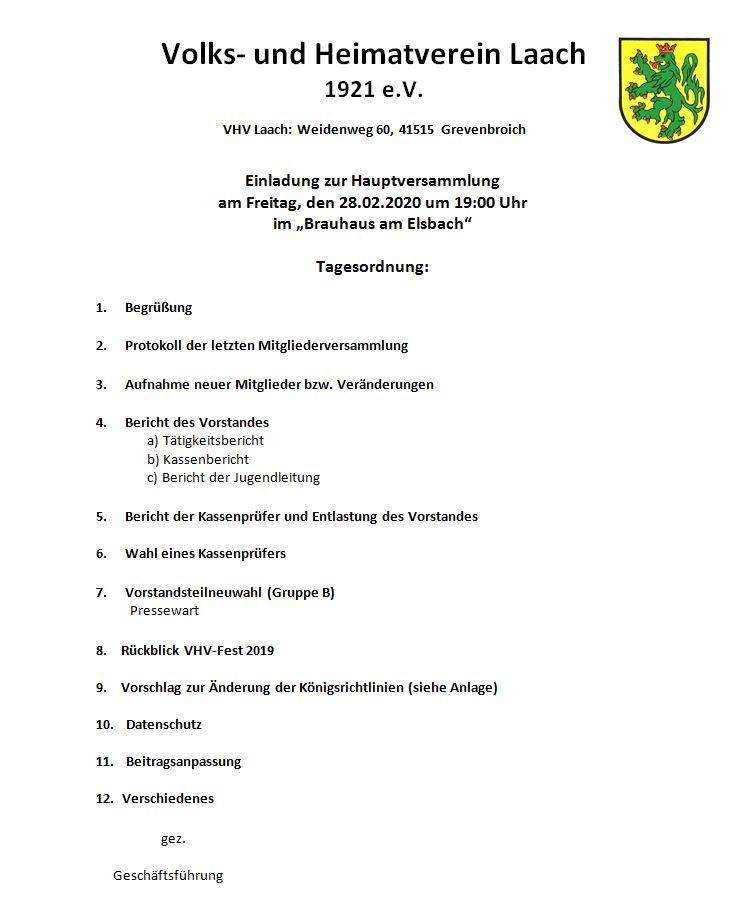 Einladung zur Hauptversammlung des VHV Laach